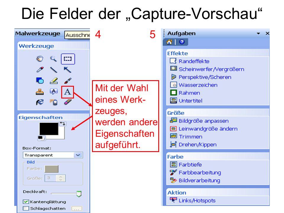 """Die Felder der """"Capture-Vorschau"""" Mit der Wahl eines Werk- zeuges, werden andere Eigenschaften aufgeführt. 4 5"""
