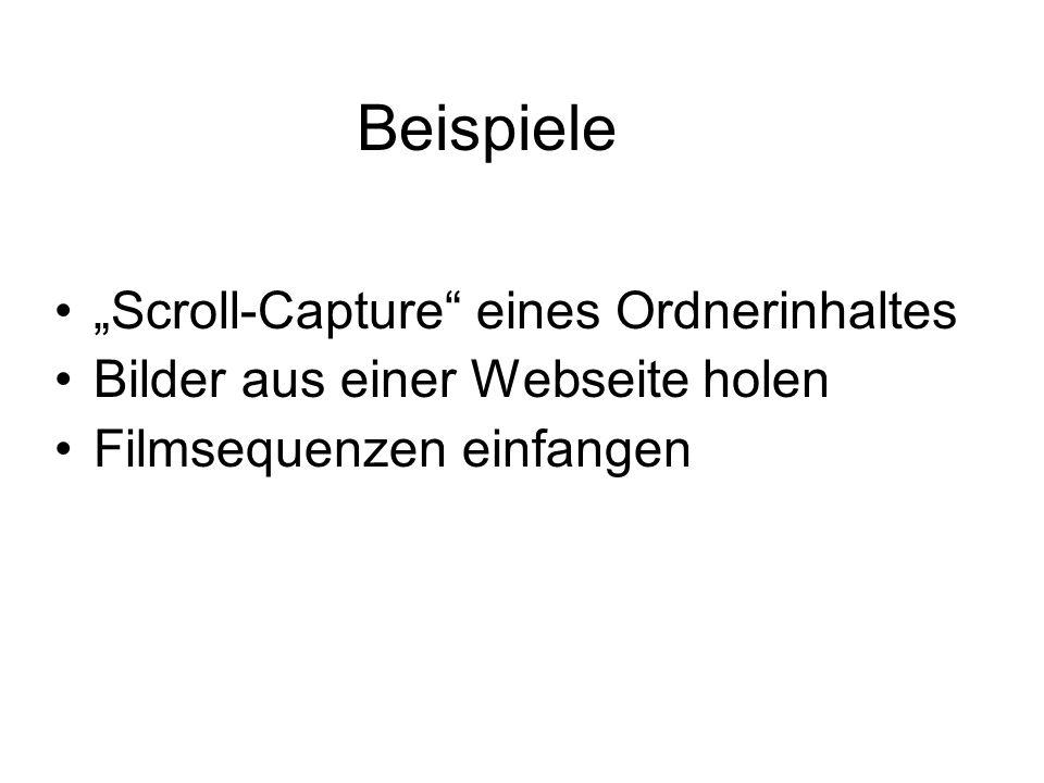 """Beispiele """"Scroll-Capture"""" eines Ordnerinhaltes Bilder aus einer Webseite holen Filmsequenzen einfangen"""