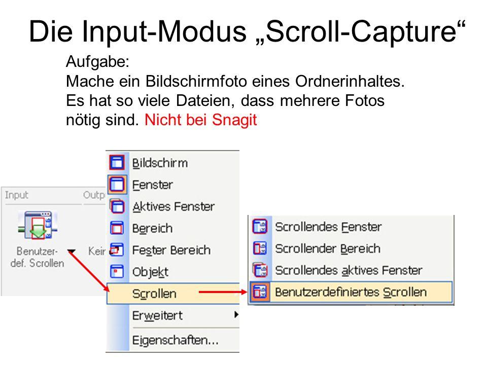 """Die Input-Modus """"Scroll-Capture"""" Aufgabe: Mache ein Bildschirmfoto eines Ordnerinhaltes. Es hat so viele Dateien, dass mehrere Fotos nötig sind. Nicht"""