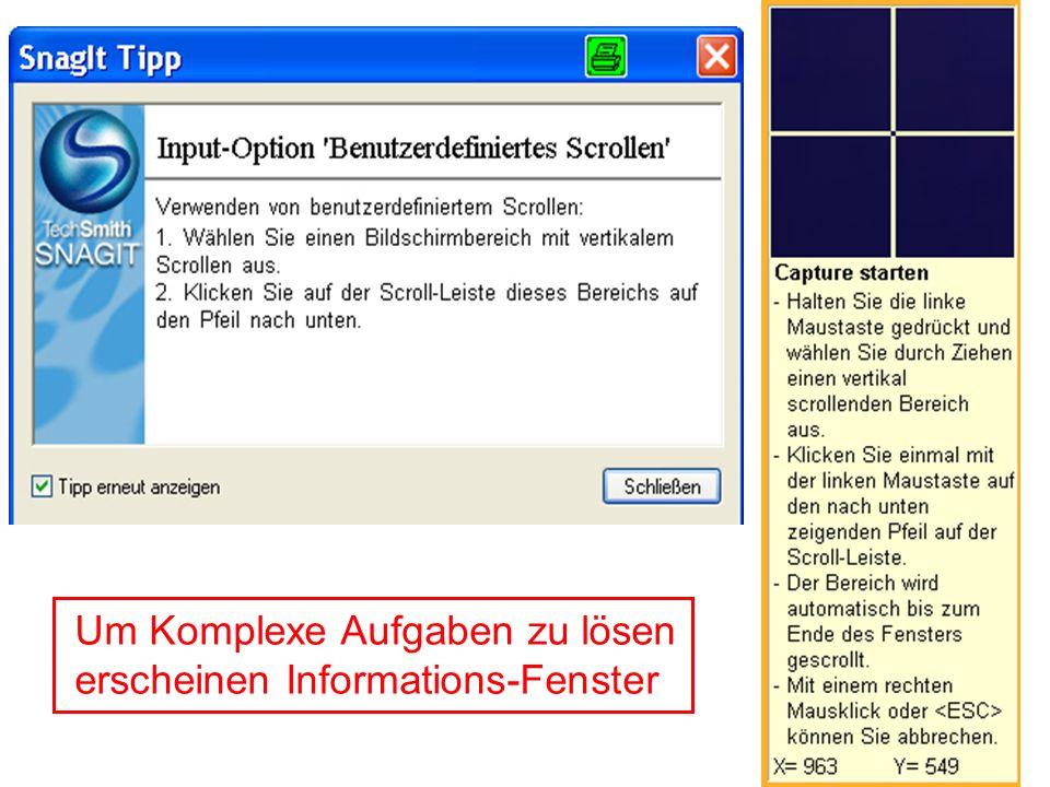 Um Komplexe Aufgaben zu lösen erscheinen Informations-Fenster