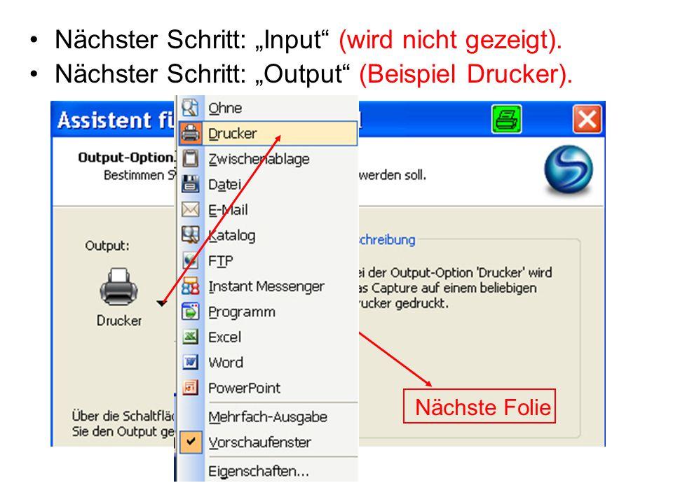 "Nächster Schritt: ""Input"" (wird nicht gezeigt). Nächster Schritt: ""Output"" (Beispiel Drucker). Nächste Folie"