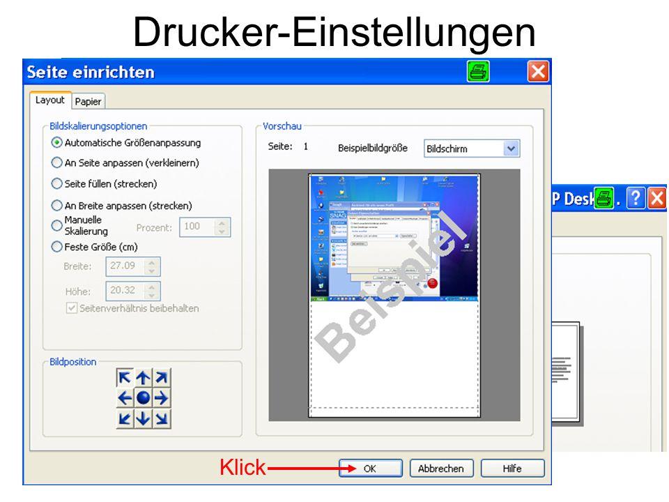 Drucker-Einstellungen Klick