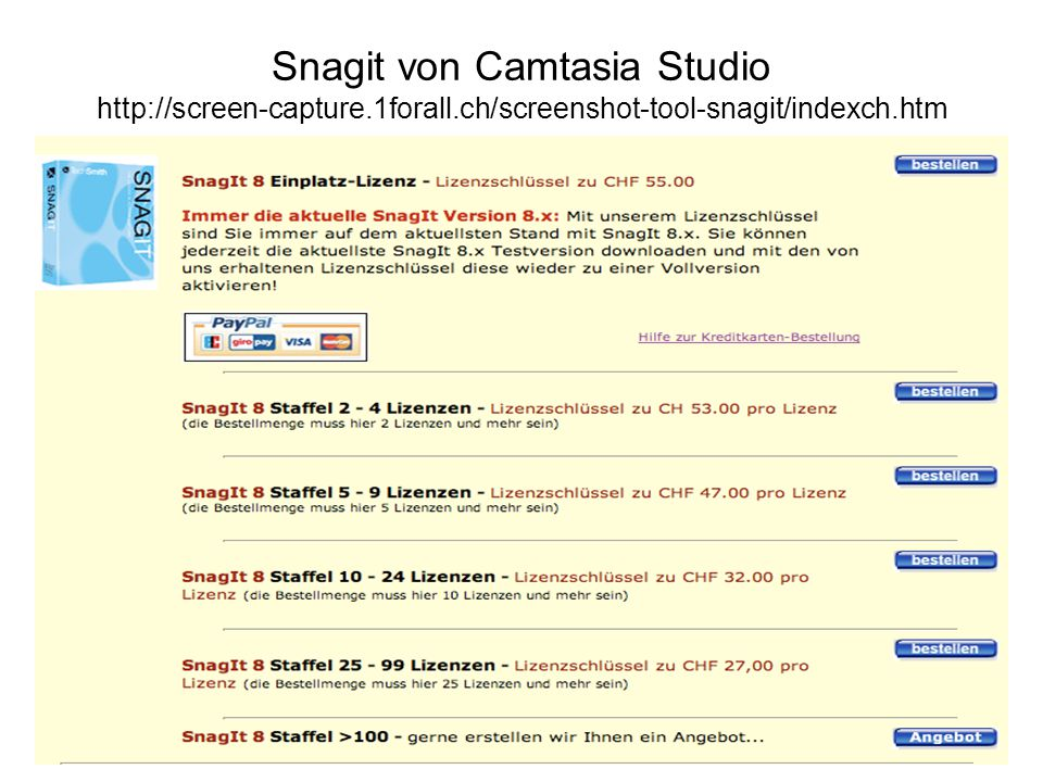 Snagit von Camtasia Studio http://screen-capture.1forall.ch/screenshot-tool-snagit/indexch.htm