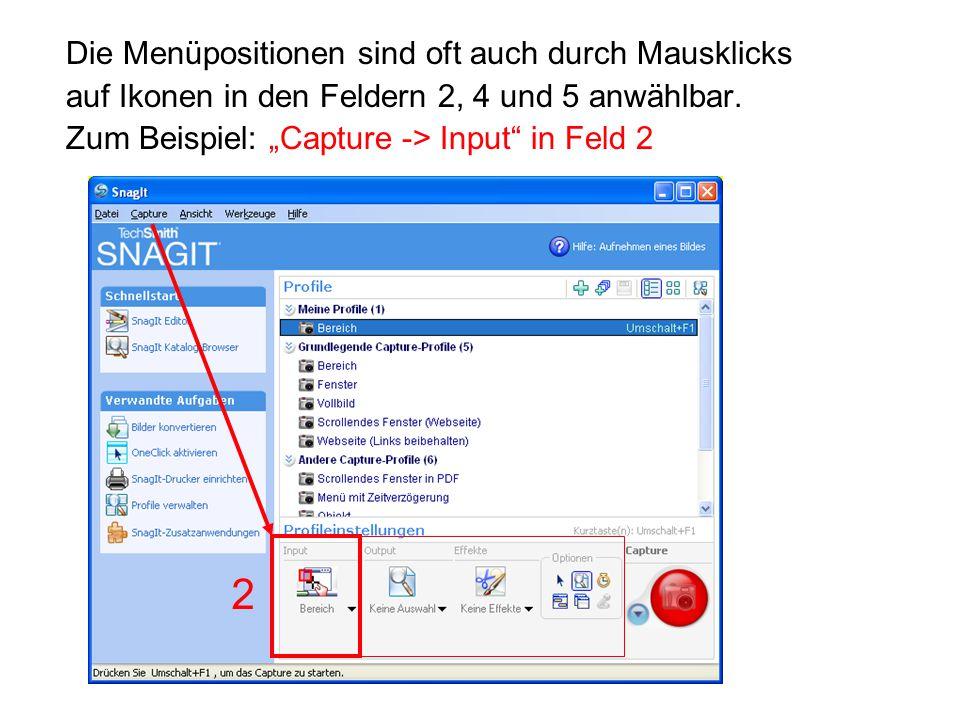 """Die Menüpositionen sind oft auch durch Mausklicks auf Ikonen in den Feldern 2, 4 und 5 anwählbar. Zum Beispiel: """"Capture -> Input"""" in Feld 2 2"""