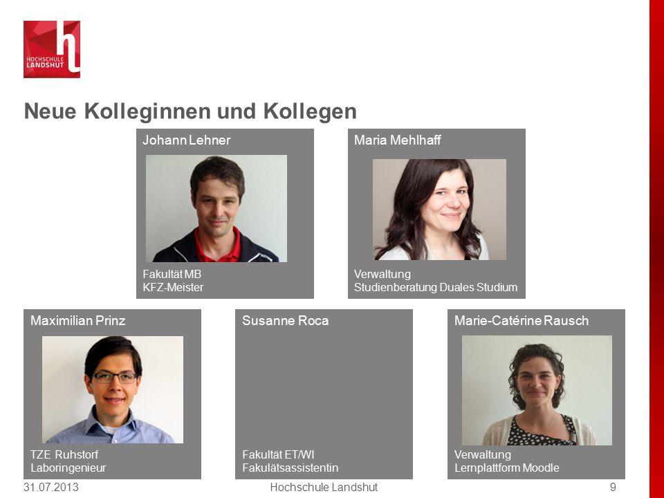 Neue Kolleginnen und Kollegen 31.07.20139Hochschule Landshut Susanne Roca Fakultät ET/WI Fakulätsassistentin Marie-Catérine Rausch Verwaltung Lernplat