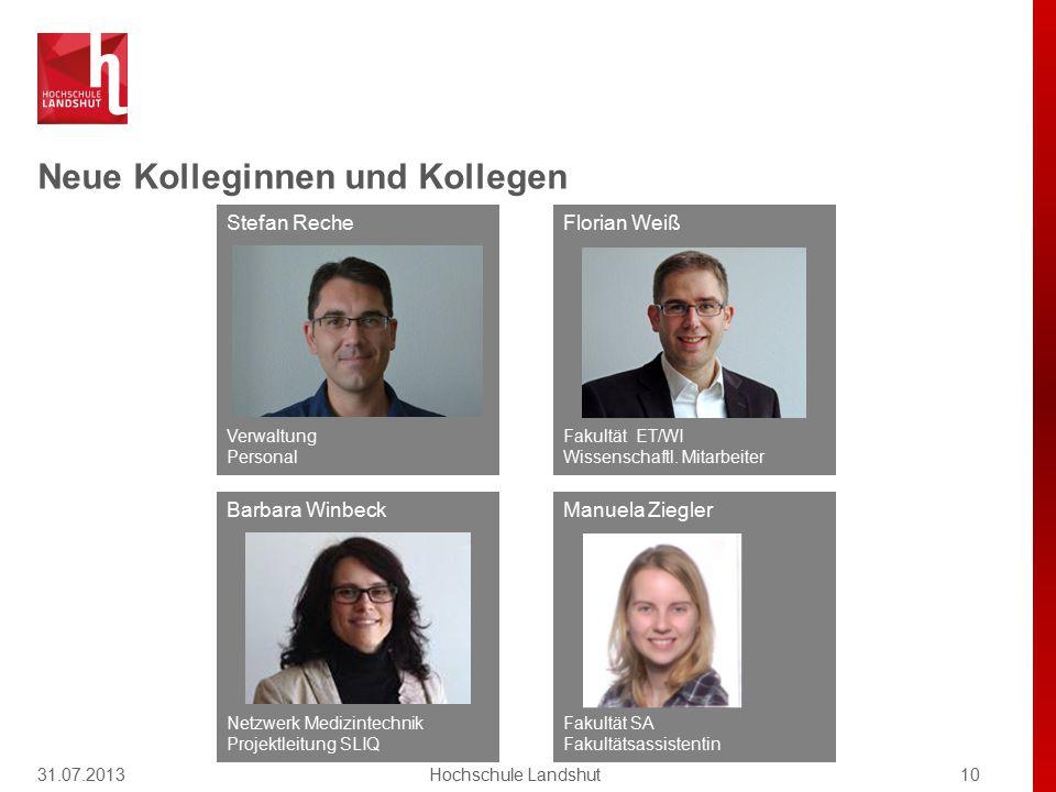 Neue Kolleginnen und Kollegen 31.07.201310Hochschule Landshut Manuela Ziegler Fakultät SA Fakultätsassistentin Barbara Winbeck Netzwerk Medizintechnik