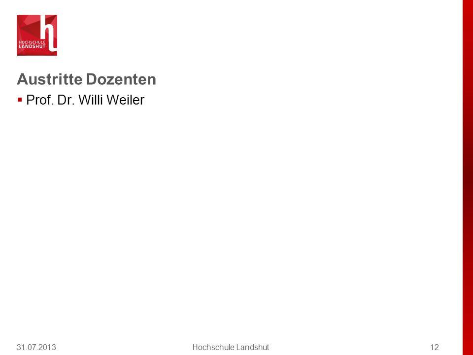 Austritte Dozenten  Prof. Dr. Willi Weiler 31.07.201312Hochschule Landshut