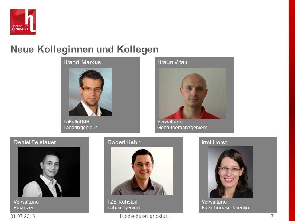 Neue Kolleginnen und Kollegen 31.07.20137Hochschule Landshut Brandl Markus Fakultät MB Laboringenieur Robert Hahn TZE Ruhstorf Laboringenieur Daniel F
