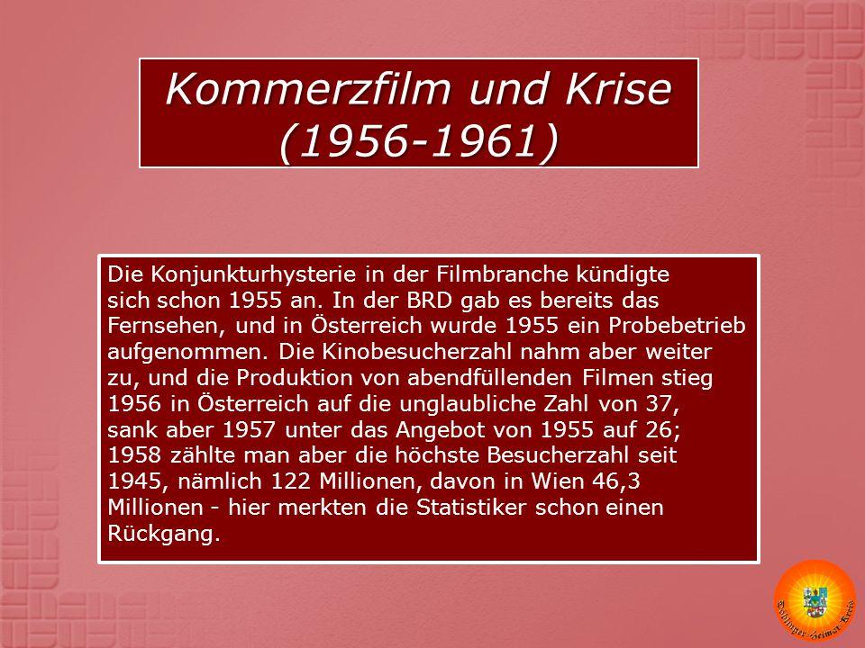Die Konjunkturhysterie in der Filmbranche kündigte sich schon 1955 an. In der BRD gab es bereits das Fernsehen, und in Österreich wurde 1955 ein Probe