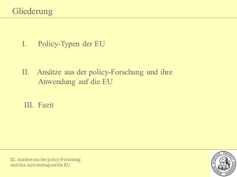 III. Ansätze aus der policy-Forschung und ihre Anwendung auf die EU Gliederung I.Policy-Typen der EU II. Ansätze aus der policy-Forschung und ihre Anw