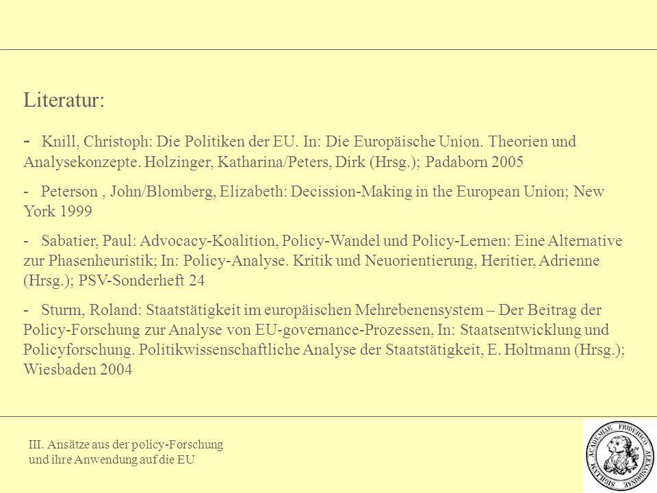 III. Ansätze aus der policy-Forschung und ihre Anwendung auf die EU Literatur: - Knill, Christoph: Die Politiken der EU. In: Die Europäische Union. Th