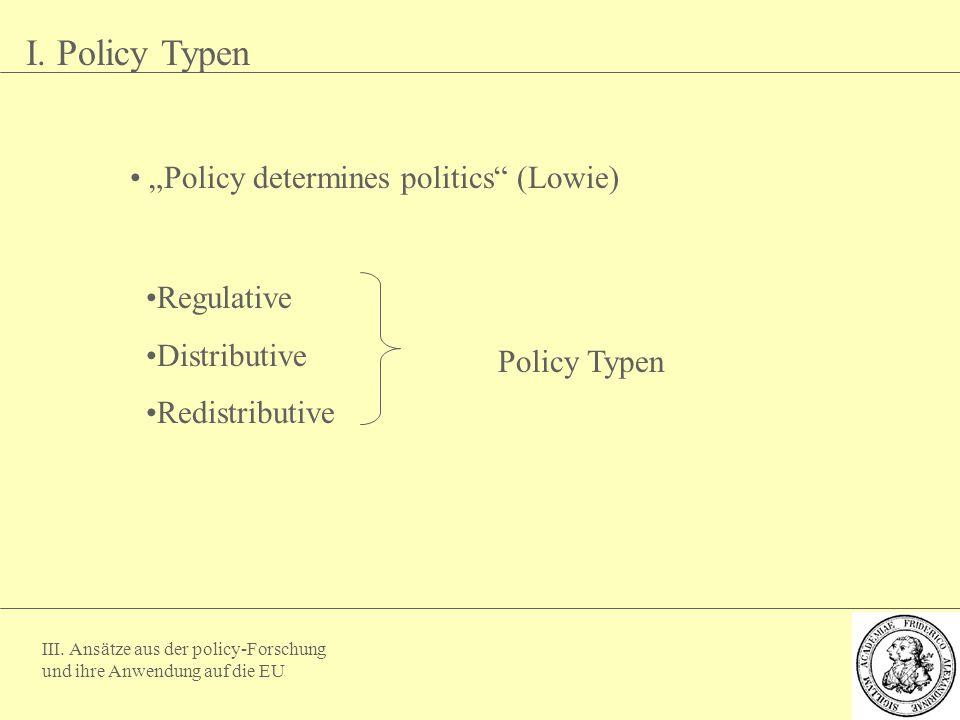 """III. Ansätze aus der policy-Forschung und ihre Anwendung auf die EU I. Policy Typen """"Policy determines politics"""" (Lowie) Regulative Distributive Redis"""