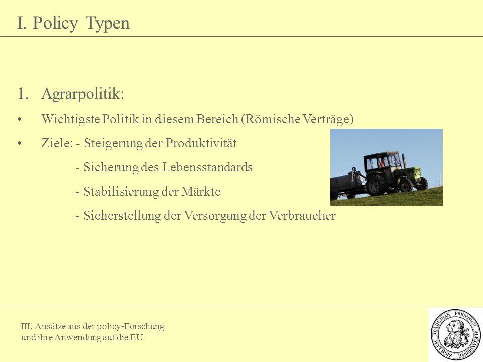 III. Ansätze aus der policy-Forschung und ihre Anwendung auf die EU I. Policy Typen 1.Agrarpolitik: Wichtigste Politik in diesem Bereich (Römische Ver