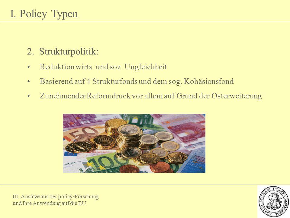 III. Ansätze aus der policy-Forschung und ihre Anwendung auf die EU I. Policy Typen 2. Strukturpolitik: Reduktion wirts. und soz. Ungleichheit Basiere