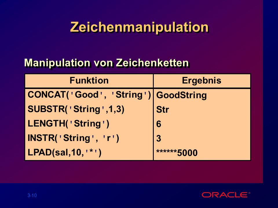 3-10 CONCAT( Good , String ) SUBSTR( String ,1,3) LENGTH( String ) INSTR( String , r ) LPAD(sal,10, * ) GoodString Str 6 3 ******5000 FunktionErgebnis Zeichenmanipulation Manipulation von Zeichenketten