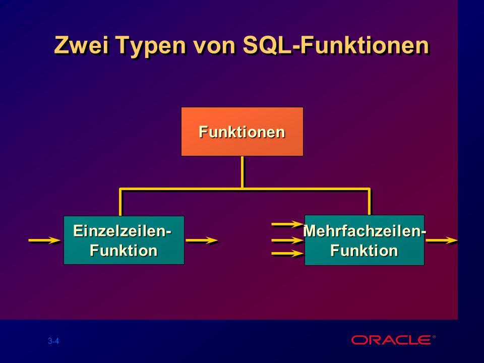 3-4 Zwei Typen von SQL-Funktionen Funktionen Einzelzeilen-Funktion Mehrfachzeilen-Funktion