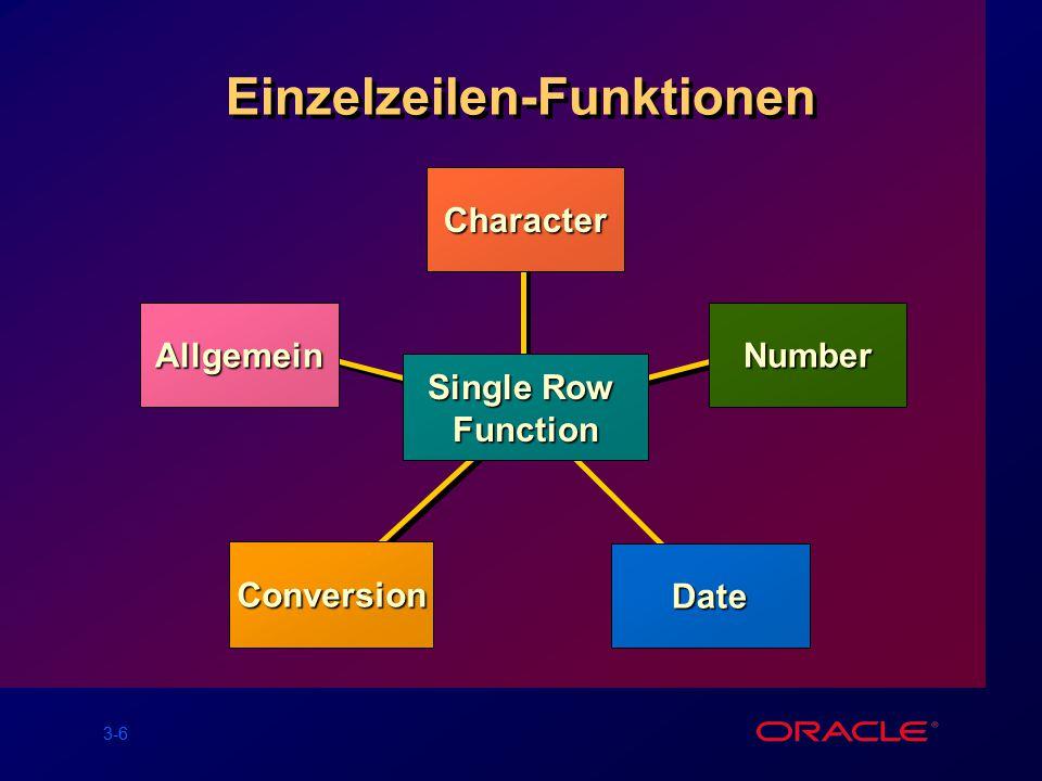 3-7 Zeichen-Funktionen CharacterFunction LOWERUPPERINITCAPCONCATSUBSTRLENGTHINSTRLPAD Groß-/Kleinschreibung (Case Conversion) Zeichenmanipulation