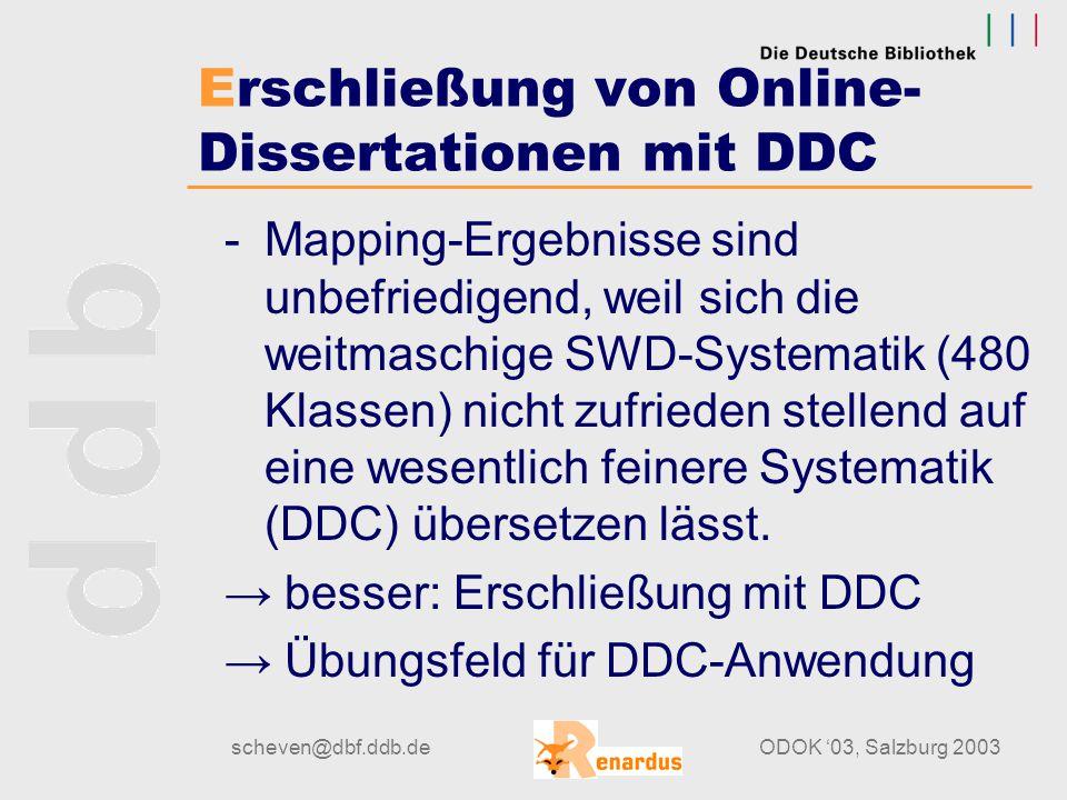 """scheven@dbf.ddb.deODOK '03, Salzburg 2003 DDC in Renardus DDC als Suchelement im Geographischen Index Benutzeroberfläche Such-Oberfläche bietet eine systematische Browse- Struktur, an der man sich entlang """"hangeln kann."""