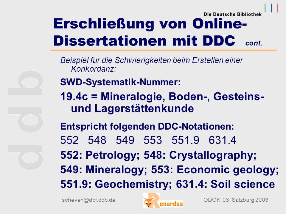 scheven@dbf.ddb.deODOK '03, Salzburg 2003 Erschließung von Online- Dissertationen mit DDC -Mapping-Ergebnisse sind unbefriedigend, weil sich die weitm