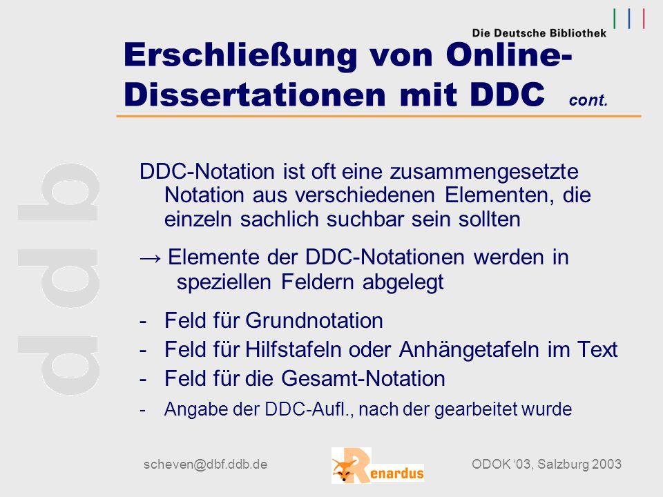 scheven@dbf.ddb.deODOK '03, Salzburg 2003 Erschließung von Online- Dissertationen mit DDC cont. Beispiel: Volcanic rocks from central Italy [Elektroni
