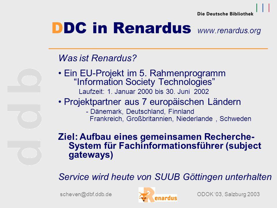 scheven@dbf.ddb.deODOK '03, Salzburg 2003 Klassifikatorische Inhaltserschließung von elektronischen Medien und Internetressourcen am Beispiel von DDC-