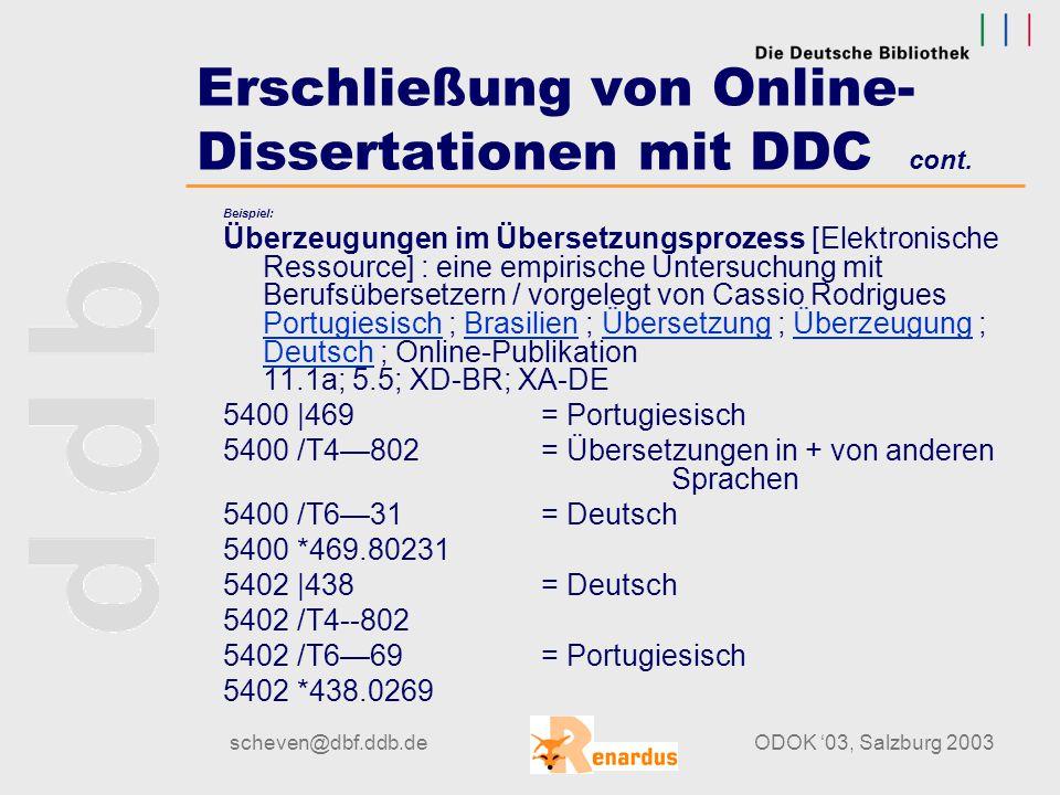 scheven@dbf.ddb.deODOK '03, Salzburg 2003 Erschließung von Online- Dissertationen mit DDC cont. Stehplatz (standing room): Begriff für ein Thema, das