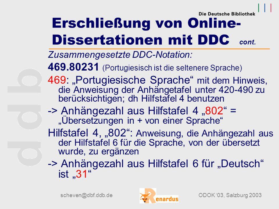 scheven@dbf.ddb.deODOK '03, Salzburg 2003 Erschließung von Online- Dissertationen mit DDC cont. Beispiel: Überzeugungen im Übersetzungsprozess [Elektr