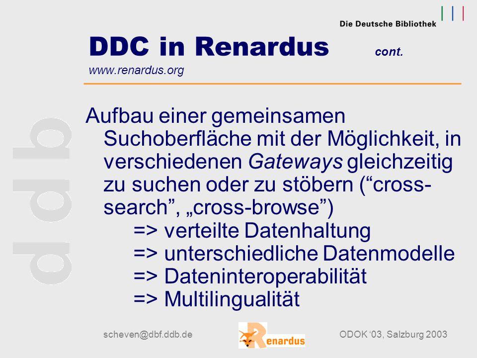 scheven@dbf.ddb.deODOK '03, Salzburg 2003 DDC in Renardus cont. www.renardus.org Beteiligte Subject-Gateways:  DAINet: Deutsches Agrarinformationsnet