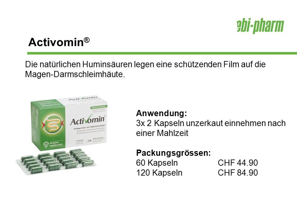 Activomin ® Anwendung: 3x 2 Kapseln unzerkaut einnehmen nach einer Mahlzeit Packungsgrössen: 60 KapselnCHF 44.90 120 KapselnCHF 84.90 Die natürlichen