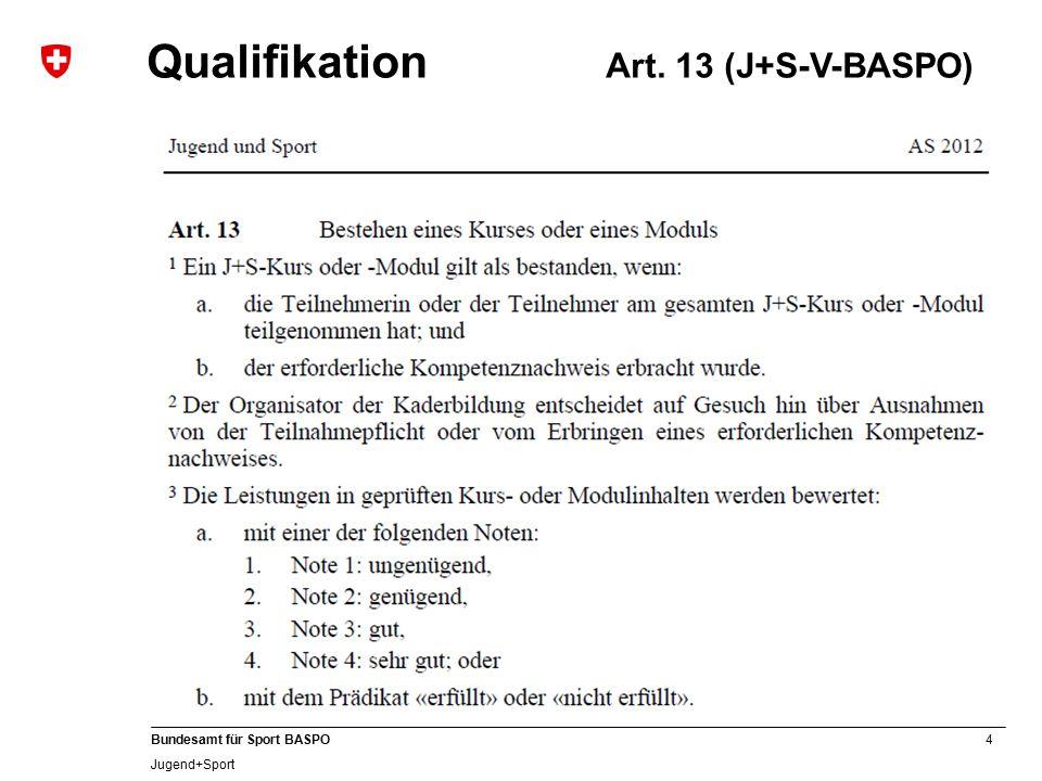 4 Bundesamt für Sport BASPO Jugend+Sport Qualifikation Art. 13 (J+S-V-BASPO)