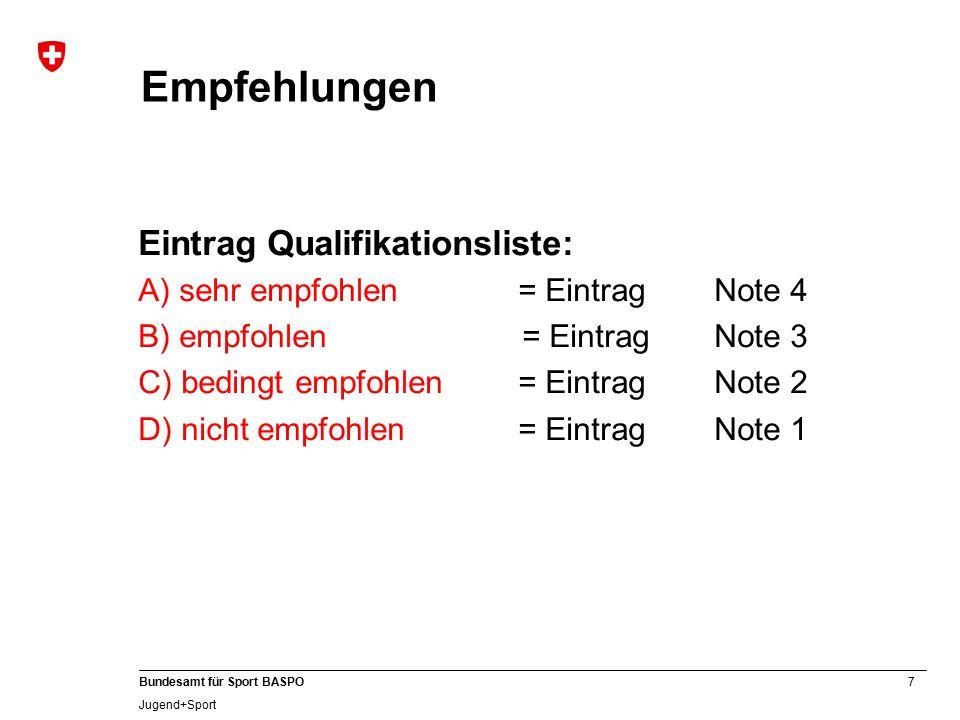 7 Bundesamt für Sport BASPO Jugend+Sport Empfehlungen Eintrag Qualifikationsliste: A) sehr empfohlen= Eintrag Note 4 B) empfohlen= Eintrag Note 3 C) bedingt empfohlen= Eintrag Note 2 D) nicht empfohlen= Eintrag Note 1