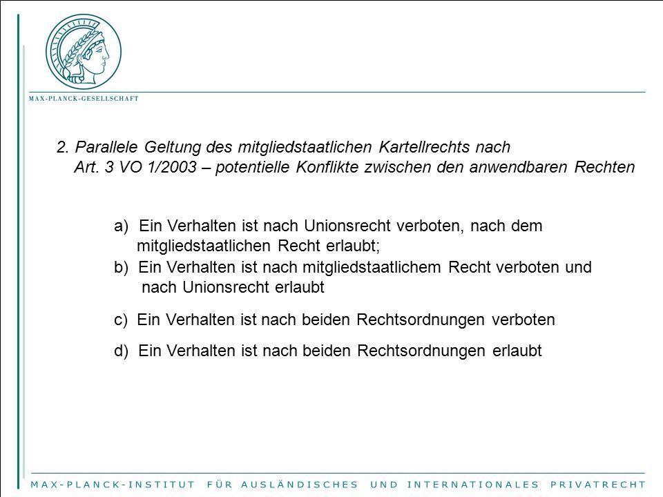 2. Parallele Geltung des mitgliedstaatlichen Kartellrechts nach Art. 3 VO 1/2003 – potentielle Konflikte zwischen den anwendbaren Rechten a)Ein Verhal