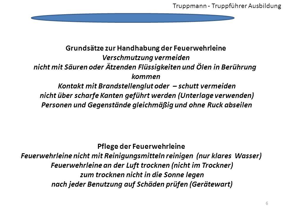 Truppmann - Truppführer Ausbildung Schotenstich Verwendung / Anwendung verbinden zweier gleichen oder ungleichen Leinen miteinander 17