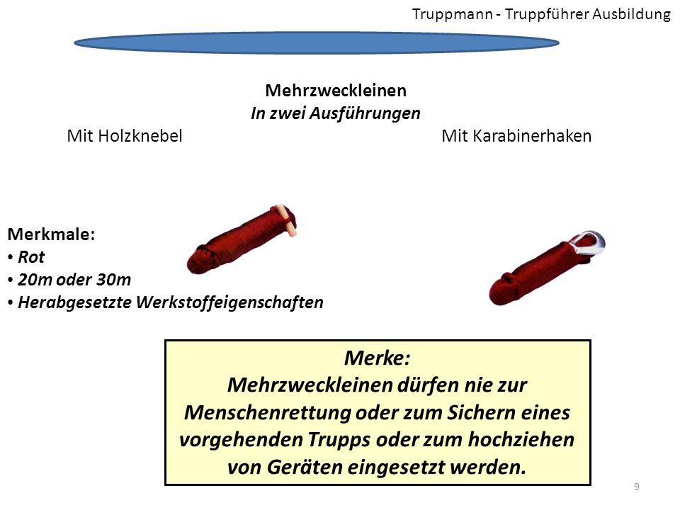 Truppmann - Truppführer Ausbildung Merke: Mehrzweckleinen dürfen nie zur Menschenrettung oder zum Sichern eines vorgehenden Trupps oder zum hochziehen von Geräten eingesetzt werden.