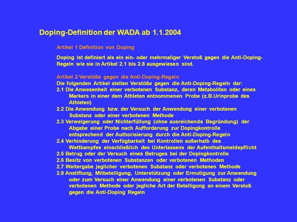 Doping-Definition der WADA ab 1.1.2004 Artikel 1 Definition von Doping Doping ist definiert als ein ein- oder mehrmaliger Verstoß gegen die Anti-Dopin