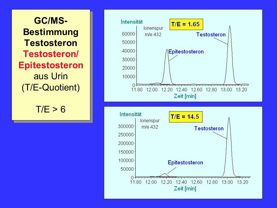 GC/MS- Bestimmung Testosteron Testosteron/ Epitestosteron aus Urin (T/E-Quotient) T/E > 6