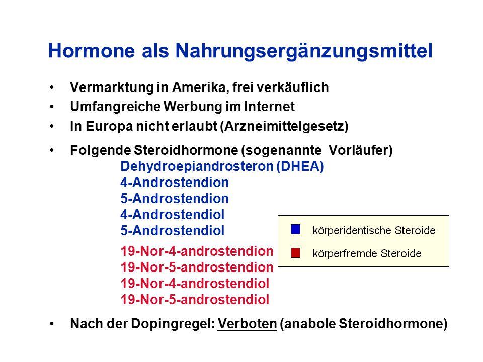 Hormone als Nahrungsergänzungsmittel Vermarktung in Amerika, frei verkäuflich Umfangreiche Werbung im Internet In Europa nicht erlaubt (Arzneimittelge