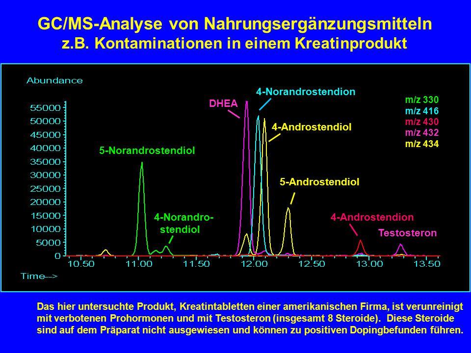 5-Norandrostendiol 4-Norandro- stendiol DHEA 4-Norandrostendion 4-Androstendiol 5-Androstendiol 4-Androstendion Testosteron GC/MS-Analyse von Nahrungs