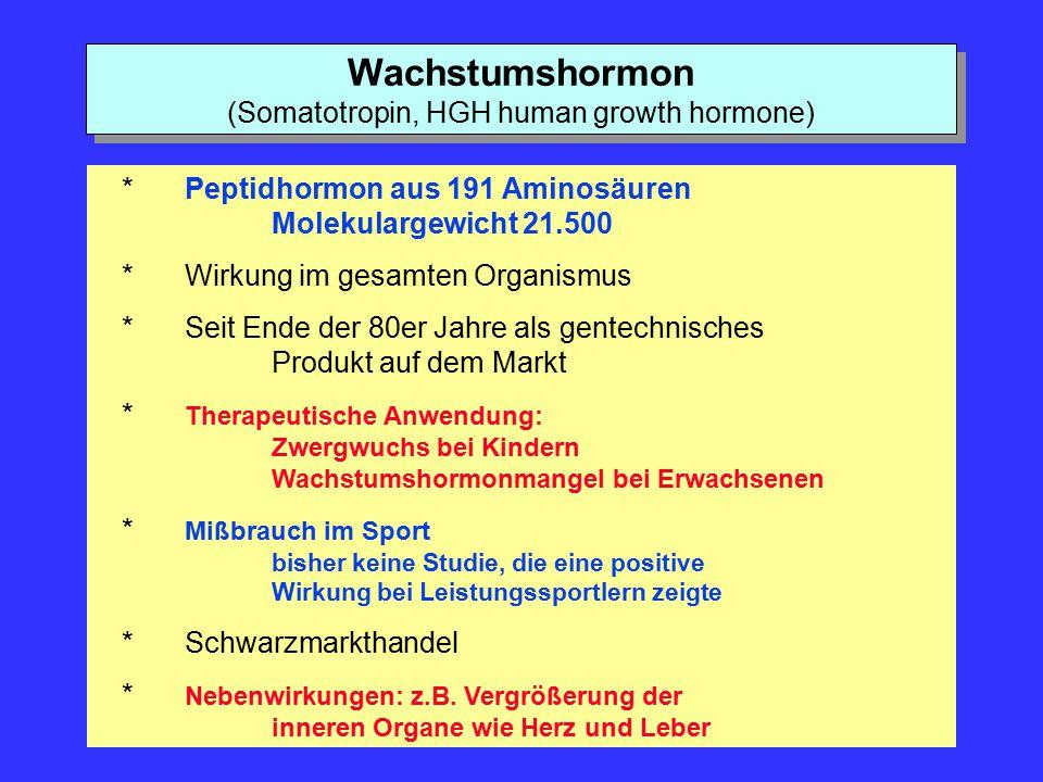 Wachstumshormon (Somatotropin, HGH human growth hormone) *Peptidhormon aus 191 Aminosäuren Molekulargewicht 21.500 *Wirkung im gesamten Organismus *Se