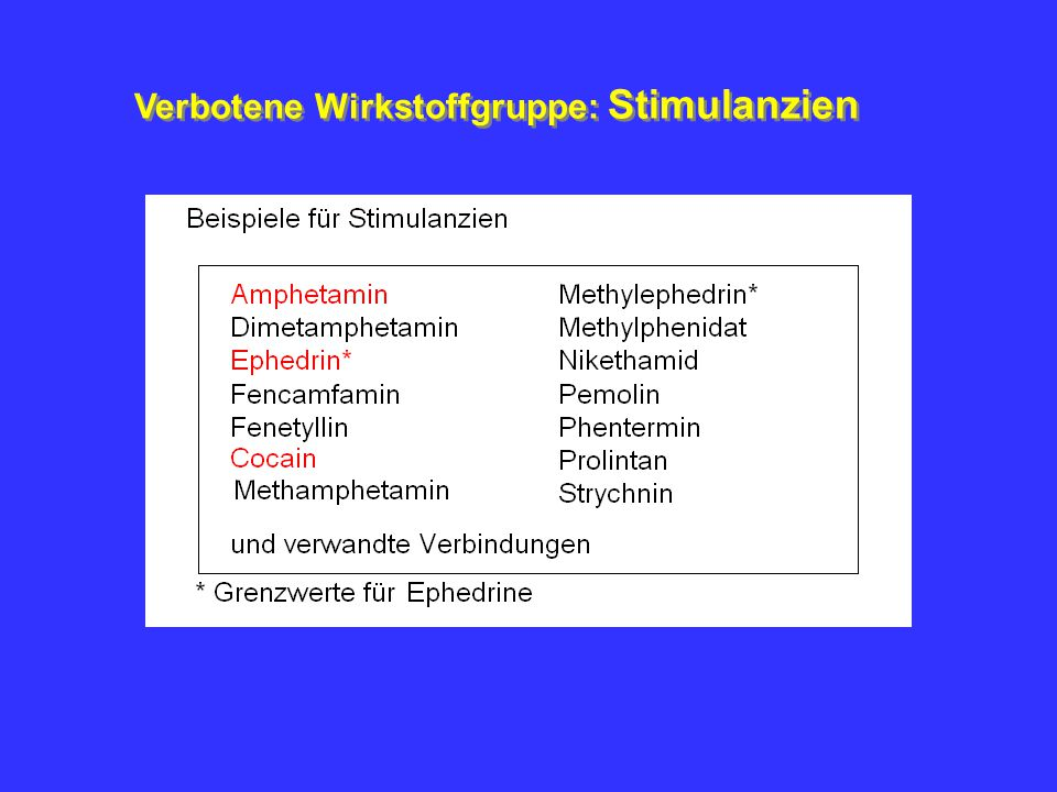 Verbotene Wirkstoffgruppen A.Stimulantien B. Narkotika (opioide Analgetika) C.