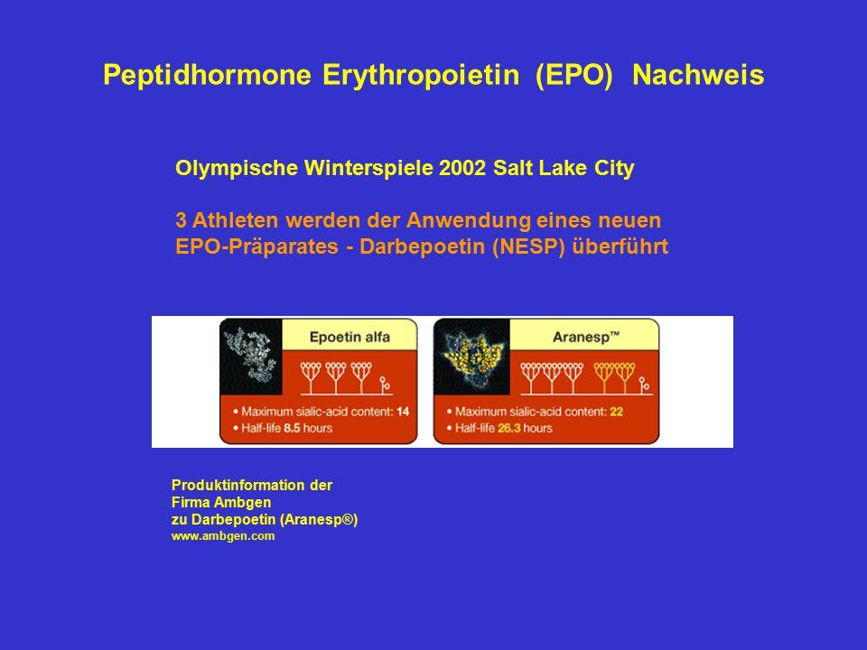 Olympische Winterspiele 2002 Salt Lake City 3 Athleten werden der Anwendung eines neuen EPO-Präparates - Darbepoetin (NESP) überführt Produktinformati