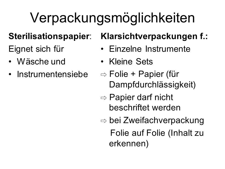 Verpackungsmöglichkeiten Tuchverpackungen als: Innenverpackung bei Verwendung von Sterilisationspapier/ Sterilbehältern ⇨ als alleinige Verpackung nicht geeignet da weder wasserabweisend noch keimdicht Container mit Filtern und Ventilen für: Instrumentensiebe Wäsche ⇨ Textilfilter bei Verfärbung wechseln ⇨ Einmalfilter nach jeder Charge ⇨ Ventile jedes mal reinigen + Funktionskontrolle