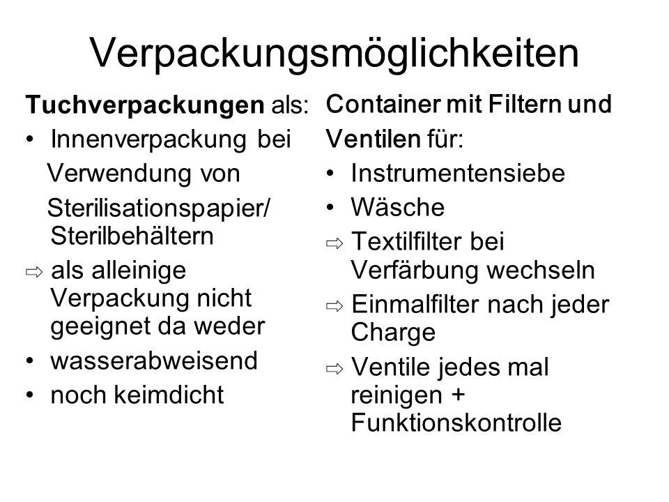 Verpackungsmöglichkeiten Tuchverpackungen als: Innenverpackung bei Verwendung von Sterilisationspapier/ Sterilbehältern ⇨ als alleinige Verpackung nic