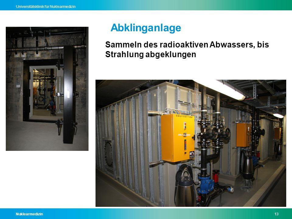 Nuklearmedizin13 Universitätsklinik für Nuklearmedizin Abklinganlage Sammeln des radioaktiven Abwassers, bis Strahlung abgeklungen