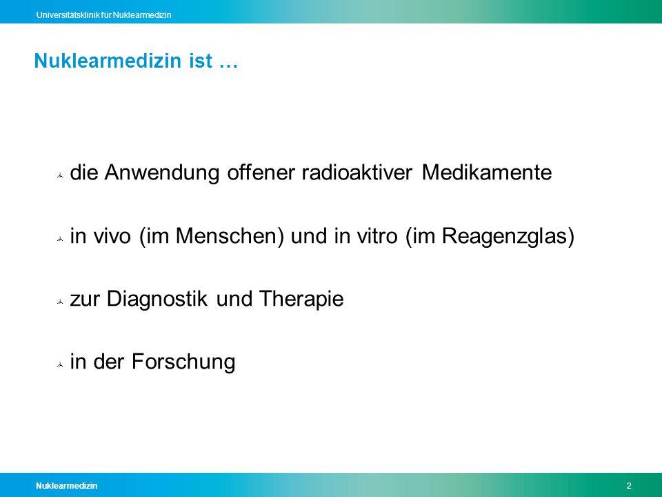 Nuklearmedizin2 Universitätsklinik für Nuklearmedizin Nuklearmedizin ist …  die Anwendung offener radioaktiver Medikamente  in vivo (im Menschen) un