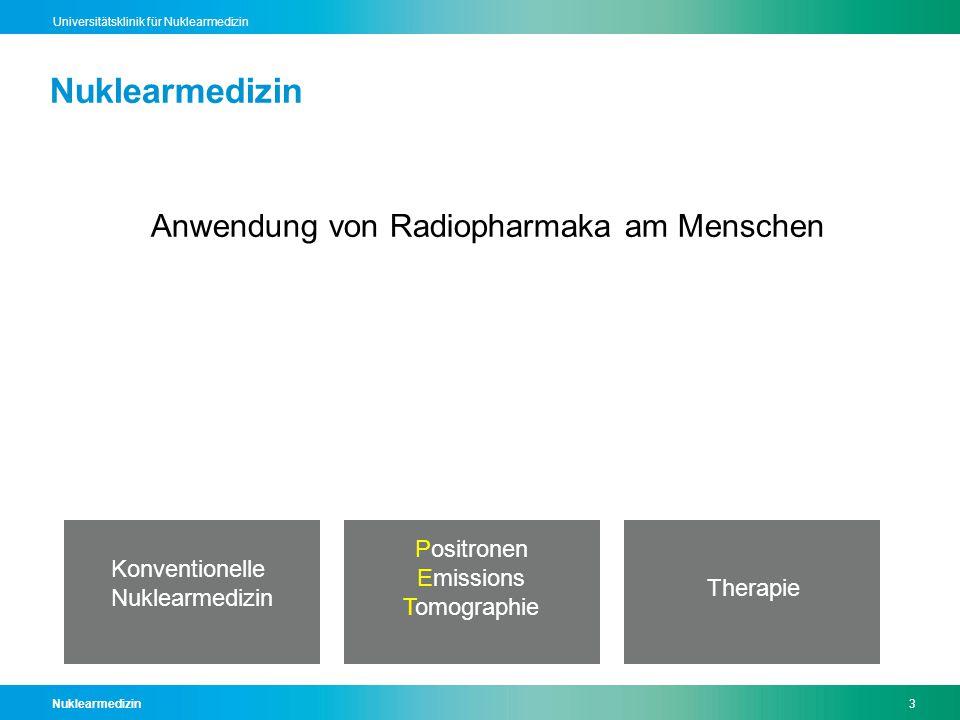 Nuklearmedizin14 Universitätsklinik für Nuklearmedizin Stahlenexposition  Natürliche Schweiz2,81- >20  Natürliche Frankreich3,1  Natürliche Indien11,1  Niere0,4  Lungenembolie1,3  Skelett3,2  Leuko3,4  Hirn4,7  FDG-PET7,4  Herz12,8 mSv/Jahr mSv/ Untersuchung