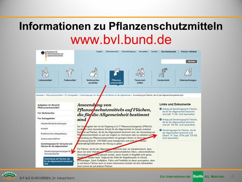 22 Ein Unternehmen der AG, München © F & E EUROGREEN, Dr. Harald Nonn Informationen zu Pflanzenschutzmitteln www.bvl.bund.de