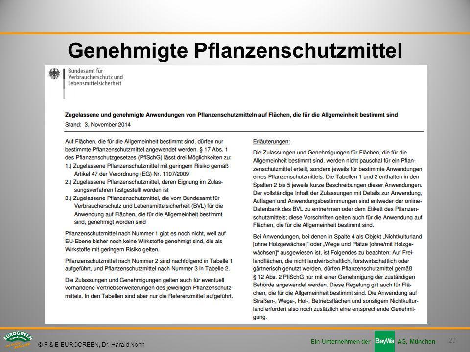 23 Ein Unternehmen der AG, München © F & E EUROGREEN, Dr. Harald Nonn Genehmigte Pflanzenschutzmittel