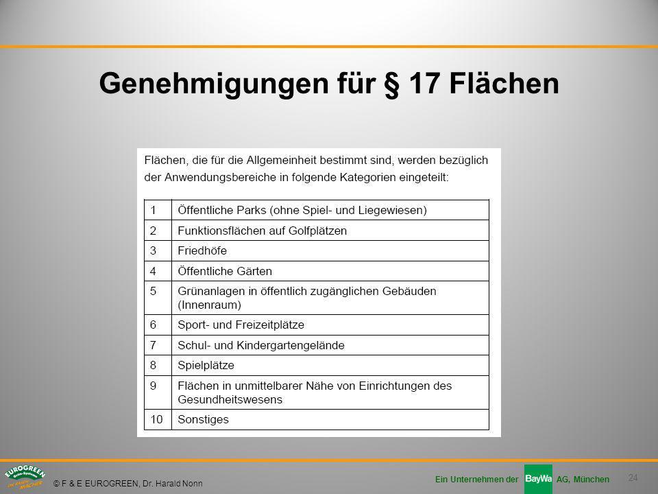 24 Ein Unternehmen der AG, München © F & E EUROGREEN, Dr. Harald Nonn Genehmigungen für § 17 Flächen