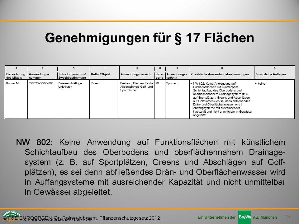 25 Ein Unternehmen der AG, München © F & E EUROGREEN, Dr. Harald Nonn NW 802: Keine Anwendung auf Funktionsflächen mit künstlichem Schichtaufbau des O